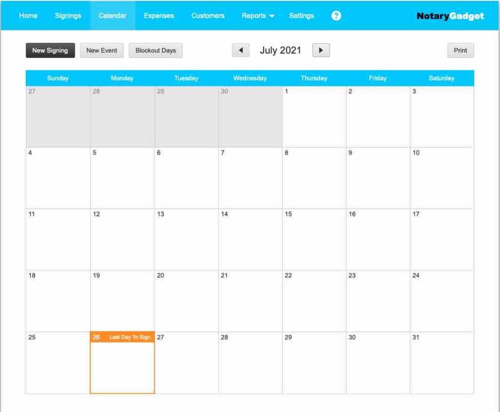 Notary Gadget Calendar